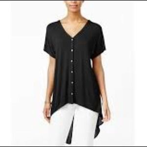 Button Down Sheer Black High Low Tunic Blouse